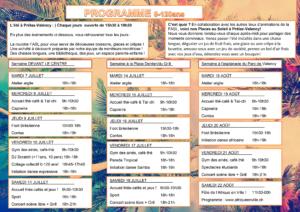 Programme Eté à Prélaz-Valency Places au Soleil 2020-2