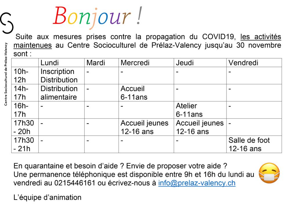fermeture COVID-19 Novembre 2020 activités maintenues
